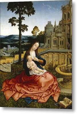 The Virgin And Child By A Fountain Metal Print by Bernard van Orley