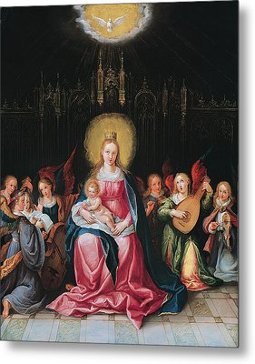 The Virgin And Child Surrounded Metal Print by Cornelis de I Baellieur