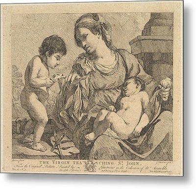 The Virgin Teaching St. John Metal Print by John Hamilton Mortimer