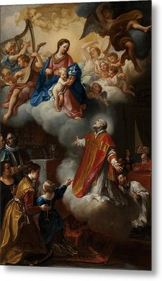 The Vision Of St. Philip Neri, 1721 Metal Print by Marco Benefial