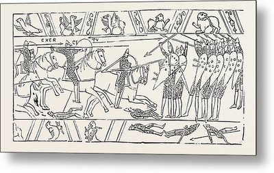 The Warriors Of Hastings From The Bayeux Tapestry Metal Print
