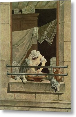 The Washerwoman, Engraved By J. Laurent Metal Print by Augustin de Saint-Aubin