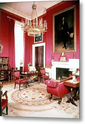 The White House Red Room Metal Print by Tom Leonard