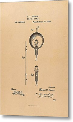 Thomas Edison Patent Application For The Light Bulb Metal Print by Movie Poster Prints