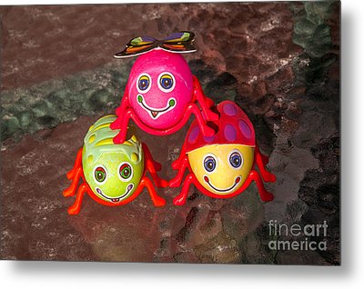 Three Easter Egg Bugs Metal Print by Sue Smith
