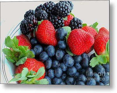 Three Fruit 2 - Strawberries - Blueberries - Blackberries Metal Print by Barbara Griffin