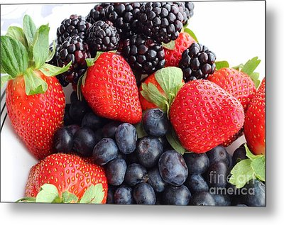 Three Fruit Closeup - Strawberries - Blueberries - Blackberries Metal Print by Barbara Griffin