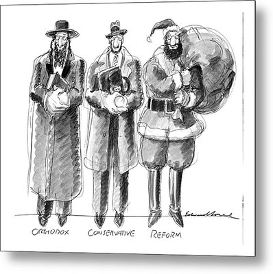 Three Jews Are Standing In A Line Metal Print by Edward Sorel