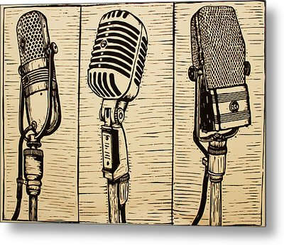 Three Microphones Metal Print by William Cauthern