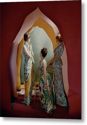 Three Models Wearing Patterned Dresses Metal Print by Cecil Beaton