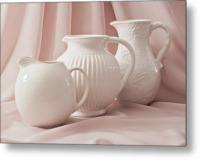 Metal Print featuring the photograph Three White Pitchers by Sandra Foster