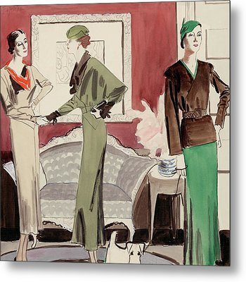 Three Women In A Living Room Metal Print