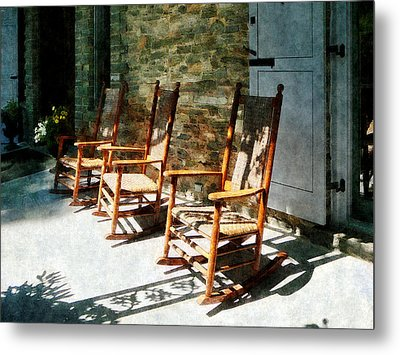 Three Wooden Rocking Chairs On Sunny Porch Metal Print by Susan Savad