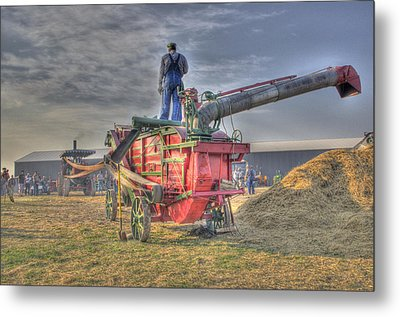 Threshing At Rollag Metal Print by Shelly Gunderson