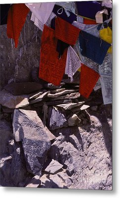 Tibetan Prayer Flags Behind The Potala Palace Metal Print by Anna Lisa Yoder