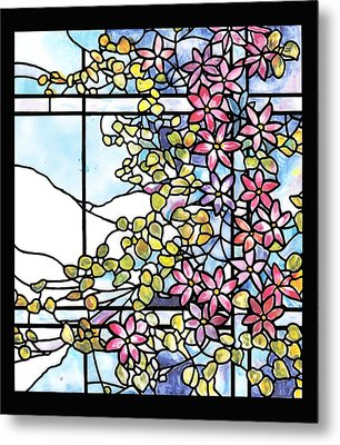 Stained Glass Tiffany Floral Skylight - Fenway Gate Metal Print by Donna Walsh