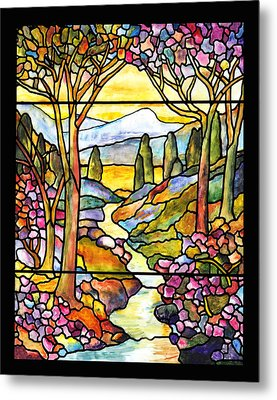 Tiffany Landscape Window Metal Print by Donna Walsh