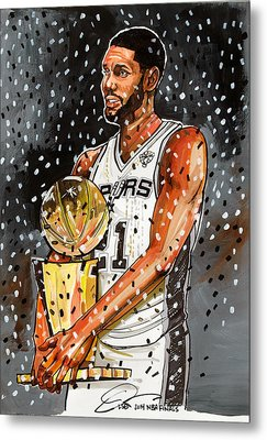 Tim Duncan Nba Champion Metal Print