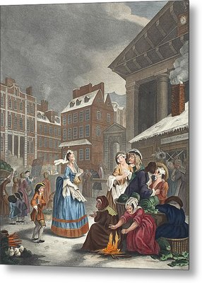 Times Of The Day Morning, Illustration Metal Print by William Hogarth