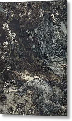 Titania Lying Asleep, Illustration Metal Print by Arthur Rackham