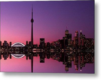 Toronto Skyline At Sunset, Toronto Metal Print by Alan Marsh