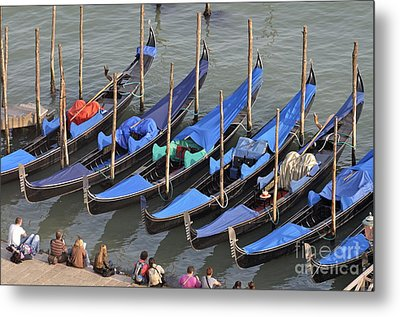 Tourists And Row Of Empty Moored Gondolas Metal Print