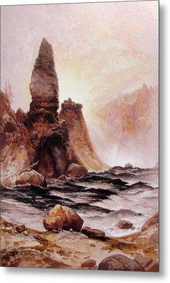 Tower Falls At Yellowstone Metal Print by Thomas Moran