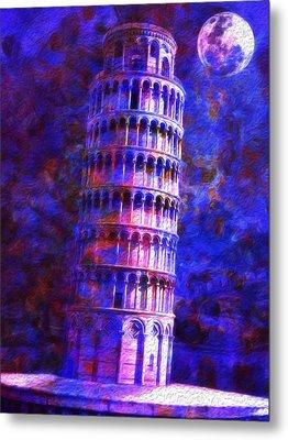 Tower Of Pisa By Moonlight Metal Print by Jack Zulli