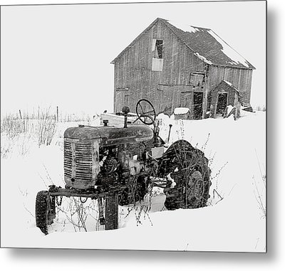 Metal Print featuring the photograph Tractor In Winter by Jim Vance