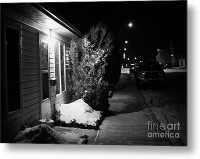 Traditional House With Porch Light Outside The Door And Snow Cleared Pavements At Night Delisle Sask Metal Print