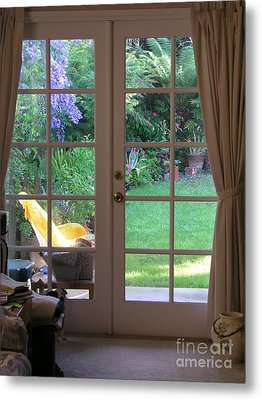 Tranquility Through French Doors Metal Print by Bev Conover