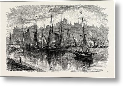 Trawlers Near The Ferry, Uk, Britain, British Metal Print by English School