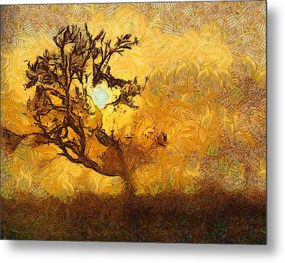 Tree At Sunset - Digital Painting In Van Gogh Style With Warm Orange And Brown Colors Metal Print by Matthias Hauser