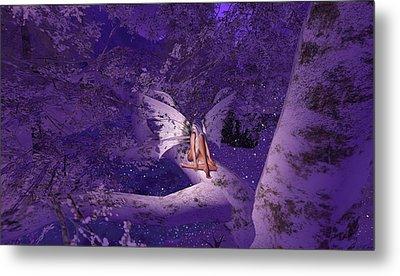 Tree Fairy In Snow Metal Print by Amanda Holmes Tzafrir