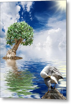 Tree Seagull And Sea Metal Print by Antonio Scarpi