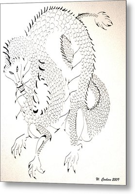 Metal Print featuring the drawing Tribal Dragon by Wendy Coulson