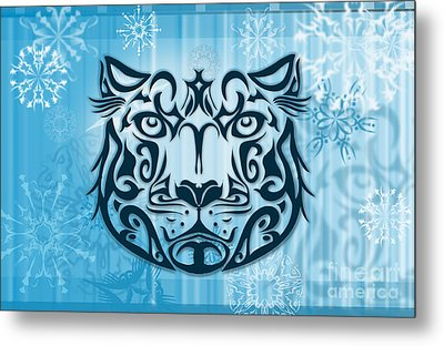 Tribal Tattoo Design Illustration Poster Of Snow Leopard Metal Print by Sassan Filsoof