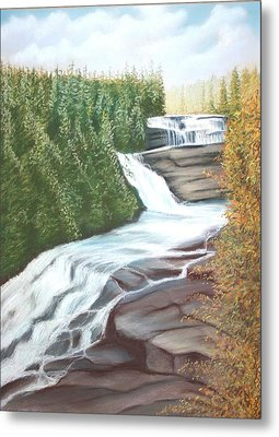 Metal Print featuring the pastel Triple Falls by Stacy C Bottoms