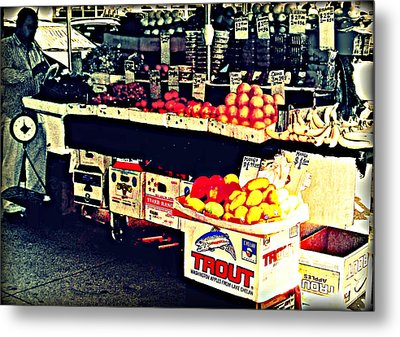 Vintage Outdoor Fruit And Vegetable Stand - Markets Of New York City Metal Print by Miriam Danar