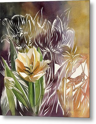Tulip With Grasshopper Metal Print by Alfred Ng