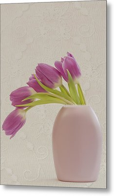 Metal Print featuring the photograph Tulips And Lace by Sandra Foster