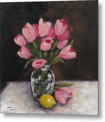 Tulips And Lemon Metal Print