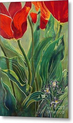 Tulips And Pushkinia Metal Print by Anna Lisa Yoder
