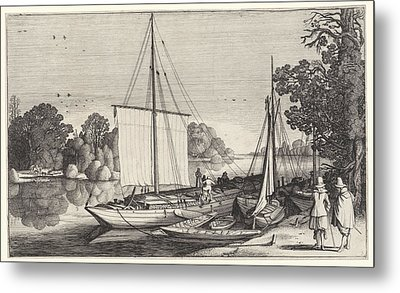 Turf Boats Along A Quay, Jan Van De Velde II Metal Print by Jan Van De Velde (ii)