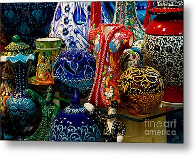Turkish Ceramic Pottery 2 Metal Print by David Smith