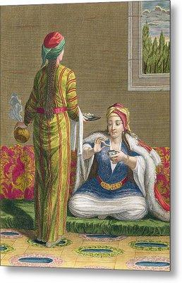 Turkish Girl, Having Coffee Metal Print