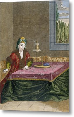 Turkish Woman Spinning Thread, C.1708 Metal Print by French School
