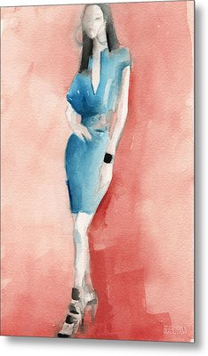 Turquoise Dress Watercolor Fashion Illustration Metal Print by Beverly Brown
