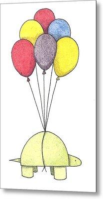 Turtle Balloon Metal Print