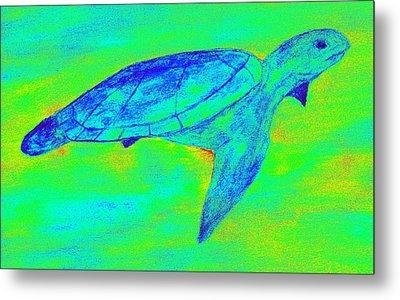 Turtle Life - Digital Ink Stamp Green Metal Print by Brett Smith